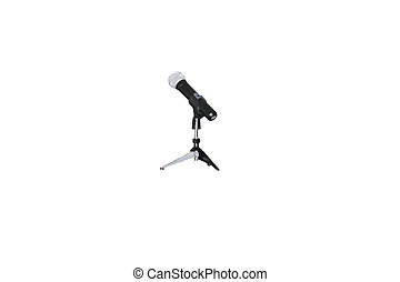 desktop stand and microphone under the white background