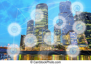 city and wireless communication network - night modern city...