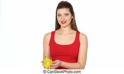 woman with red lips holding juicy pear and smilin -...