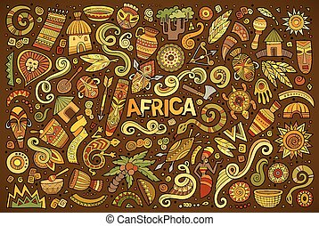 Vector doodle cartoon set of Africa objects - Colorful...