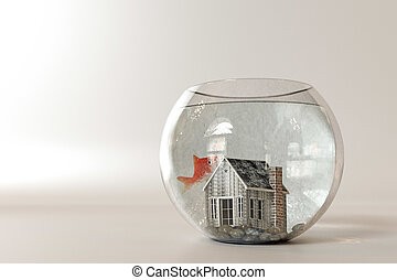 fishbowl house - 3d illustration of a fishbowl house...