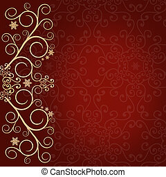 Red background with golden lace floral ornament border