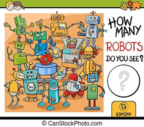 how many robots activity - Cartoon Illustration of...