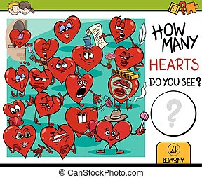 counting hearts activity - Cartoon Illustration of...