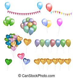 Vector set of color glossy Balloons,Hearts and bunting flags