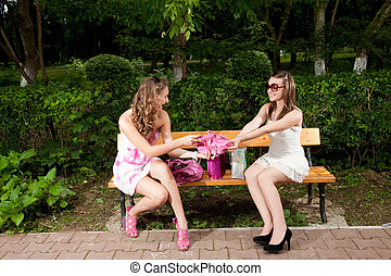 Shopping girls - Two pretty girls sharing emotions after...