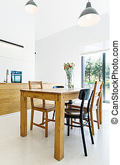 House interior with simpe wooden furnitures - Image of a...