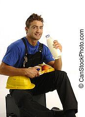 Young worker having break