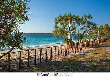 East Timor white sand beaches - View of Jaco Island, a...