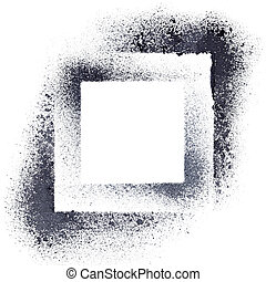 Abstract geometrical background - Black stenciled squares -...