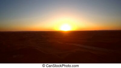 Aerial, Sahara Sunset, Erg Chegaga, Morocco - Graded and...