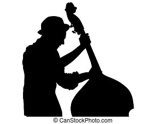 Man whit double bass - Concert of jazz music on white...