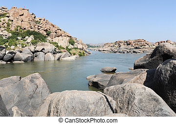 The river at Hampi on India