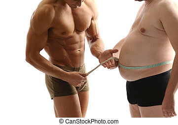 Loosing weight - Two man comparing their body