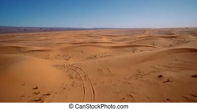 Aerial, Flying Over Sahara Dunes, Erg Chegaga, Morocco -...