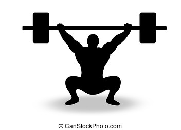 weight lifting - illustration ,black silhouette of man...
