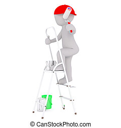 Cartoon Painter in Red Cap Climbing Ladder - Generic Gray 3d...