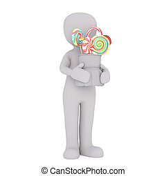 Cartoon Figure Holding Bucket of Colorful Candies - Generic...