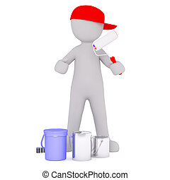 Cartoon Painter in Red Cap with Cans and Roller - Generic...