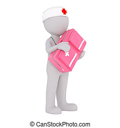 Cartoon Doctor Carrying Large Pink Medical Kit - Generic...