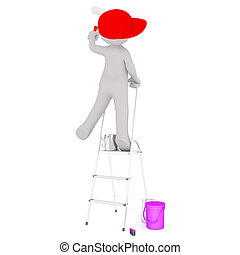 Cartoon Painter in Red Cap on Ladder with Roller - Generic...