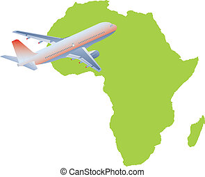 Jet plane flying up with africa map Vector illustration
