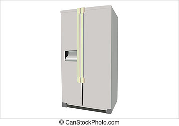refrigerator - vector illustration of dark grey refrigerator...