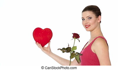 woman with red lipstick holding rose and red heart