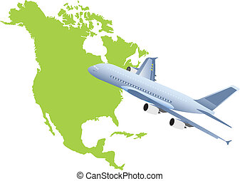 Jet plane flying up with nord america map. Vector...