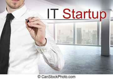businessman in modern empty office writing it startup -...