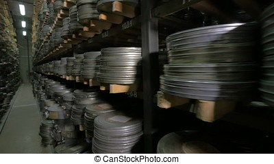 Vintage reel, video or audio tapes in a old media archives...