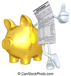 401K Form With Gold Piggy Bank - 3D concept and presentation...