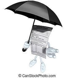401K Form With Umbrella - 3D concept and presentation figure...