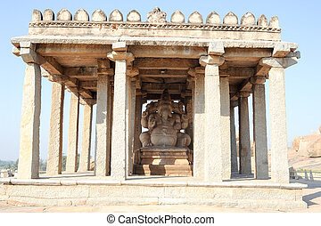 Ganesh statue in the ancient temple of Hampi