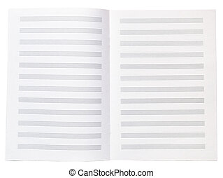 Blank music copy book note sheet opened isolated on white