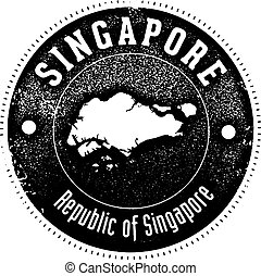 Vintage Singapore Country Stamp