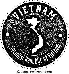 Vintage Vietnam Country Stamp - Vintage style stamp...