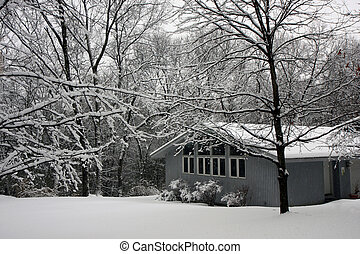 house in snow - House in snowy weather in the forest