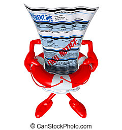 Past Due Bill In Life Preserver - 3D concept and...