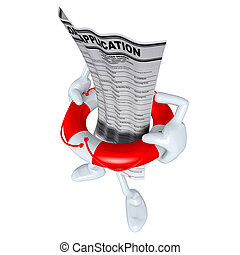 Loan Application In Life Preserver - 3D concept and...
