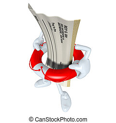 Blank Check In Life Preserver - 3D concept and presentation...