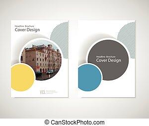 geomã©´ricas, cobertura, abstratos, anual, livro, círculo,...
