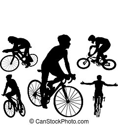 Cyclists. Vector illustration for you design