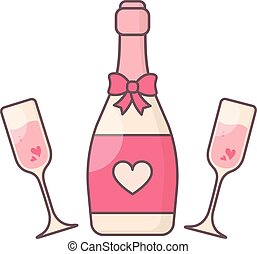 Champagne glasses and bottle. - Simple vector symbol for...