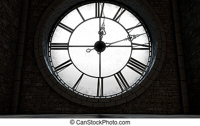 Antique Backlit Clock - A 3D render of the interior of the...