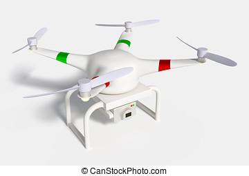 quadcopter, bourdon, appareil photo, équipé, blanc, ou
