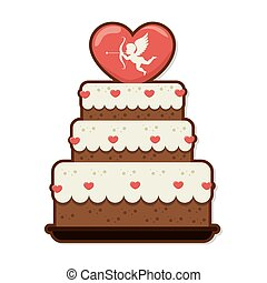 sweet cake love celebration vector illustration design