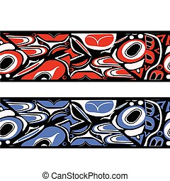 abstract red background native north american - Vector...