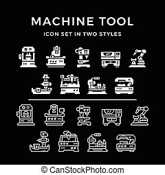Set icons of machine tool in two styles isolated on black....