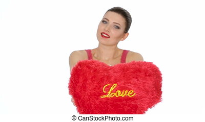 woman holding red heart . Valentine's day - beautiful...
